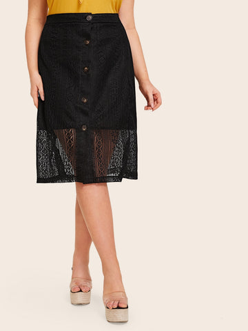 Plus Contrast Lace Button Front Skirt | Amy's Cart Singapore