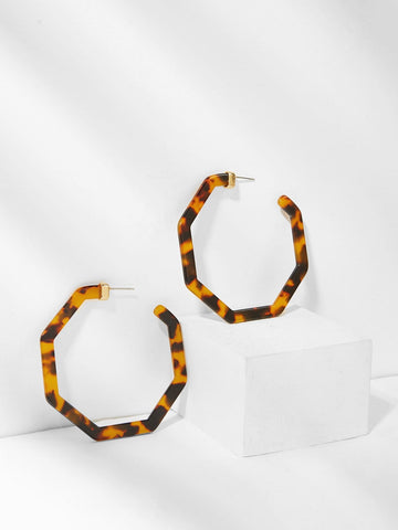 Leopard Pattern Geometric Hoop Earrings 1pair | Amy's Cart Singapore