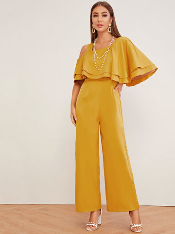 Layered Ruffle Trim Asymmetrical Cold Shoulder Jumpsuit | Amy's Cart Singapore