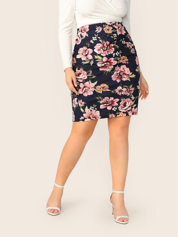 Plus Botanical Print Pencil Skirt | Amy's Cart Singapore
