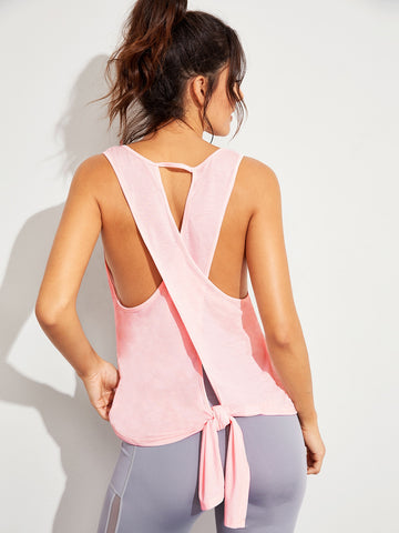 Knot Back Solid Tank Top | Amy's Cart Singapore
