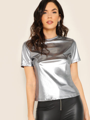Short Sleeve Metallic Top | Amy's Cart Singapore