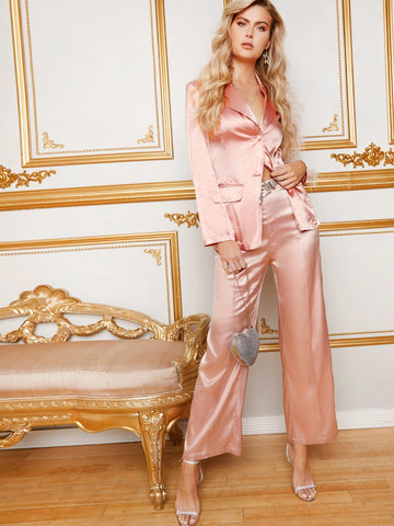 High Waist Zip Back Wide Leg Satin Pants Without Belt | Amy's Cart Singapore