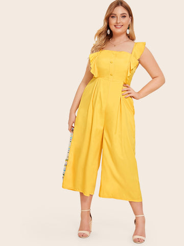 Plus Solid Ruffle Trim Wide Leg Jumpsuit | Amy's Cart Singapore