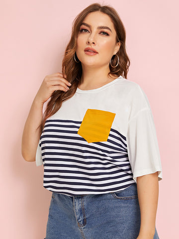 Plus Drop Shoulder Pocket Patched Striped Tee | Amy's Cart Singapore