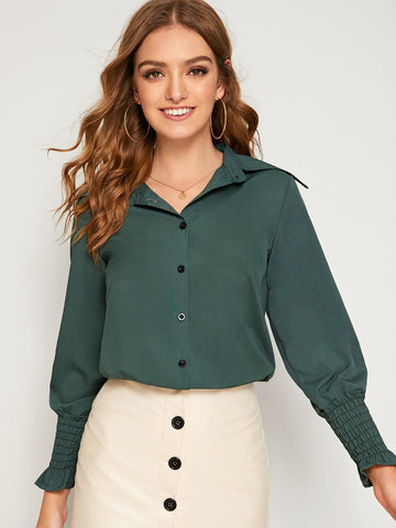 Leg-of-mutton Sleeve Shirred Cuff Single Breasted Blouse | Amy's Cart Singapore