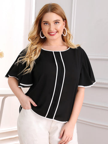 Plus Contrast Binding Butterfly Sleeve Blouse | Amy's Cart Singapore