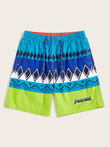 Men Geo Print Drawstring Waist Bermuda Shorts | Amy's Cart Singapore