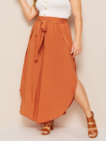 Plus Wide Leg Tie Front Pants | Amy's Cart Singapore