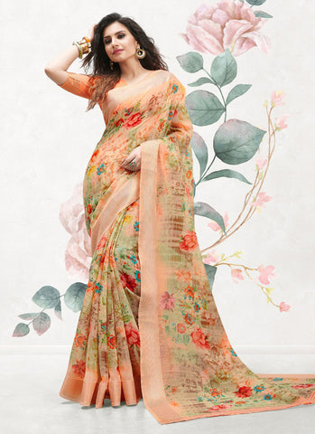 Cotton Linen New Fancy Casual Wear Hand-loom Art Printed Sarees | Amy's Cart Singapore