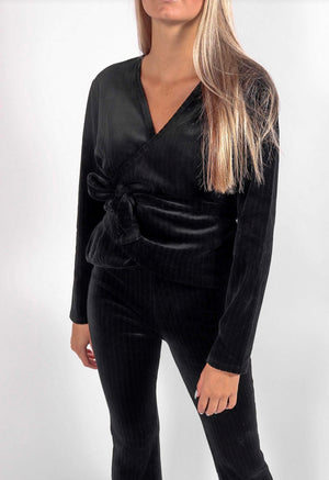 Rita Row - Ribbed Velvet Wrap Top