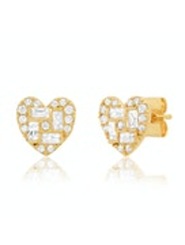 Tai - Heart Geometric Stud Earrings (Gold)