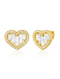 Tai - Baguette Heart Stud Earrings (Gold)