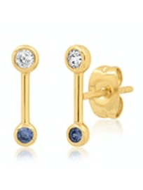 Tai - Stick Stud Earrings with Blue Accent (gold)