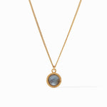 Julie Vos - Fleur-de-Lis Solitaire Necklace (iridescent slate blue)