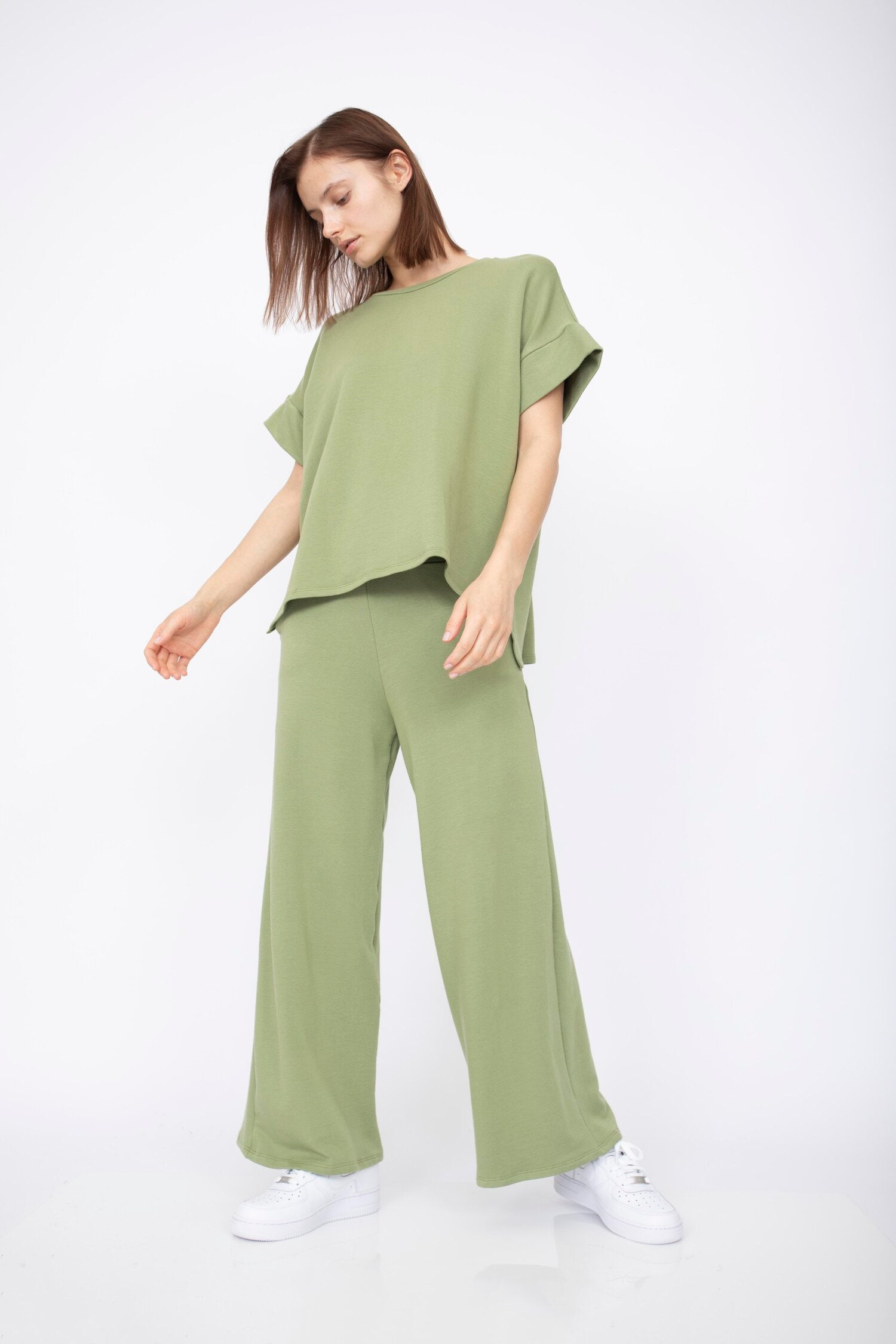 Corinne Collection - Gavin Tunic with Side Slits (Basil)
