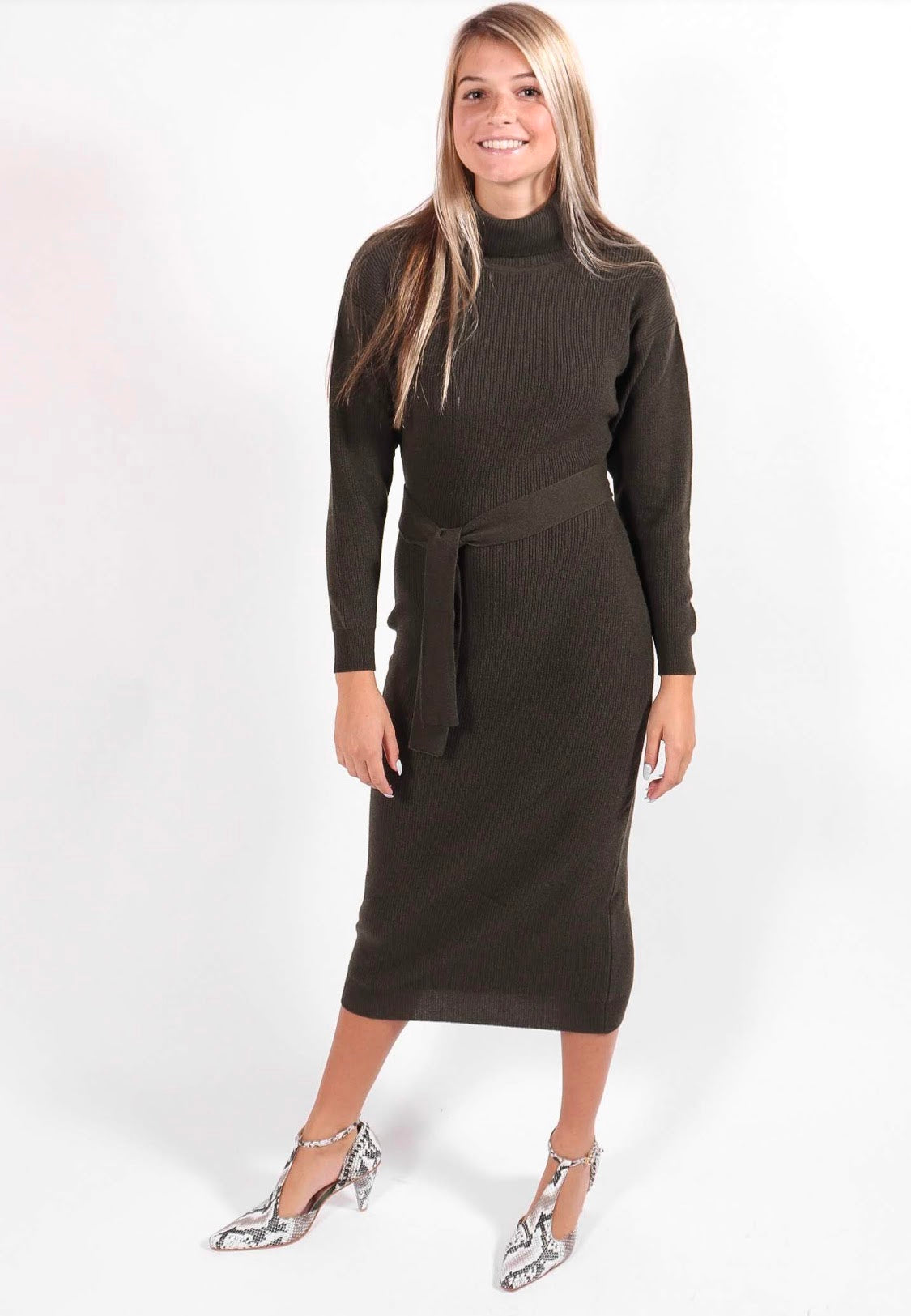 Rita Row - Knit Turtleneck Midi Dress