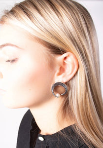Bora - Sterling and Pearl Detailed Circular Studs