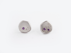 Sara Golden - Meteorite Stud Earrings (Silver)