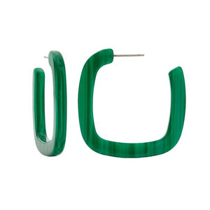 Machete - Midi Square Hoops (Malachite)