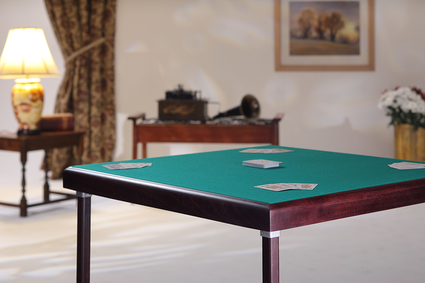 Premier card table with mahogany finish and green baize - SMALL DENT ON CORNER OF FRAME
