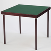 Club card table with mahogany finish and green felt surface - SLIGHTLY UNEVEN WOOD STAIN