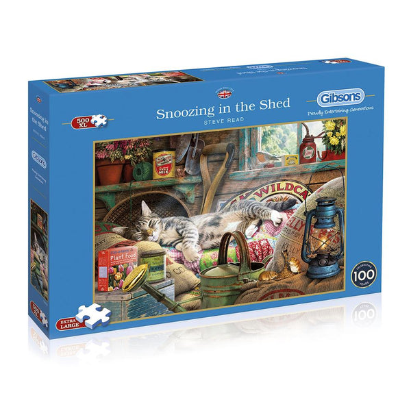 500 Piece Extra Large Jigsaw Puzzle - Snoozing in the Shed