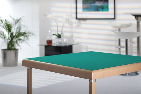 Premier card table with natural beech finish and green baize