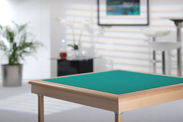 Royal card table with natural finish and green baize