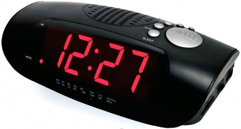 LED Clock Radio w/USB Charging