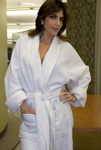 Shawl Collar Velour Robe w/Check Pattern
