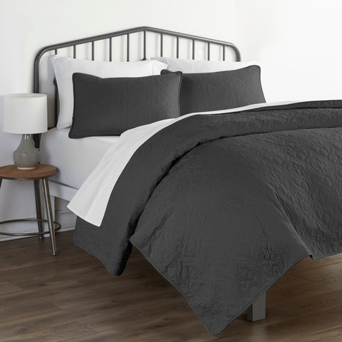 Damask Quilted Microfiber Coverlet Set