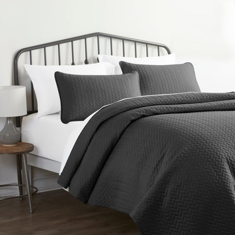 Herring Quilted Microfiber Coverlet Set