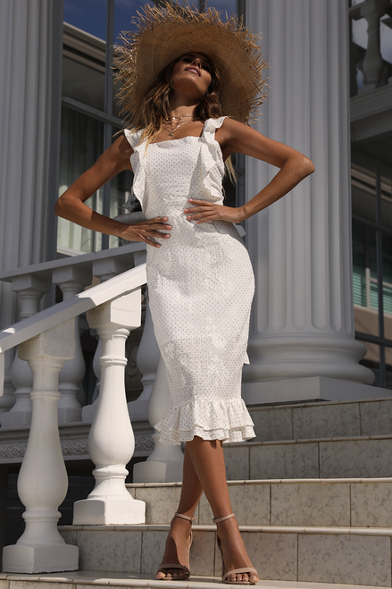 Golden Girl Dress- White