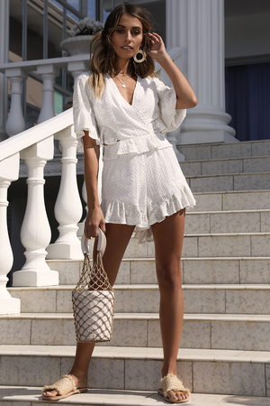 Golden Girl Playsuit- White
