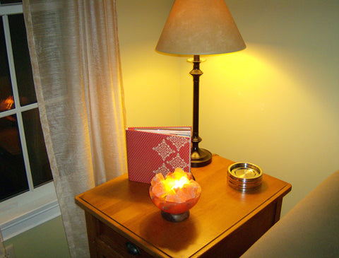 Bowl of Fire Salt Lamp on End Table