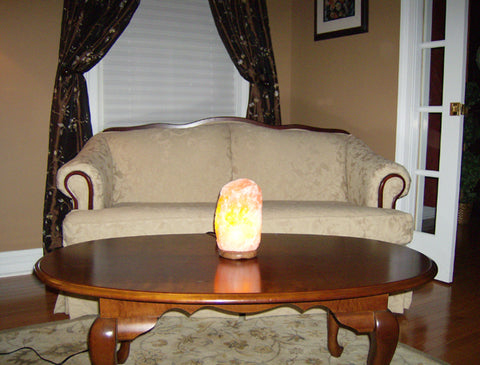 Himalayan Salt Lamp on Coffee Table