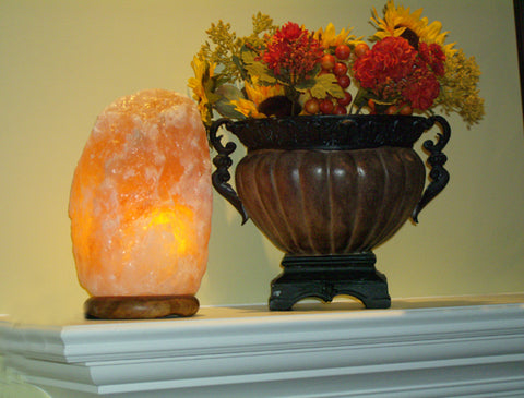 Himalayan Salt Lamp on Fireplace Mantle