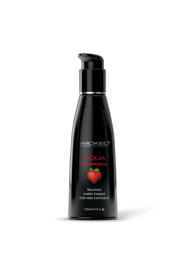 Wicked Sensual Care Aqua Waterbased Lubricant - Strawberry 4 oz