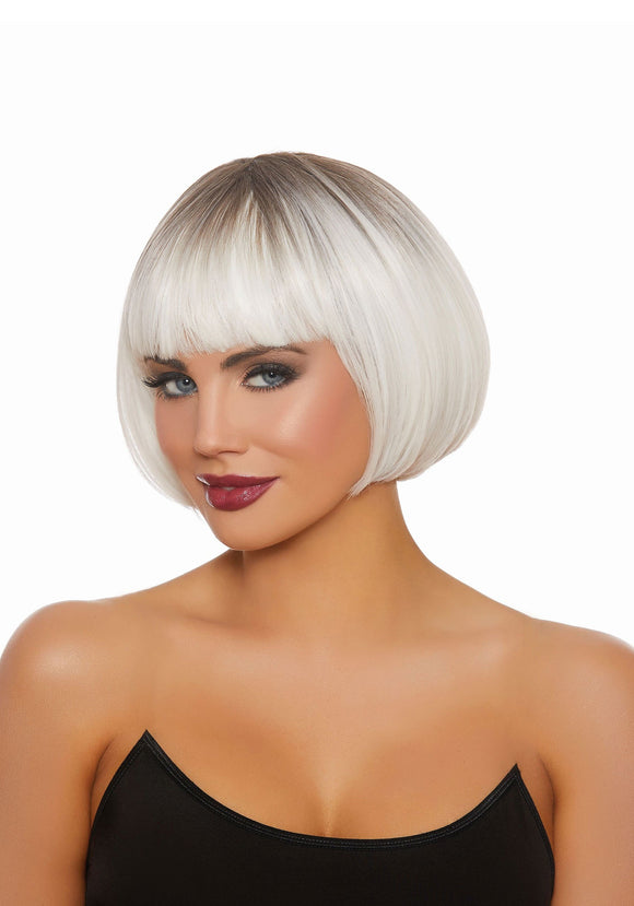 Short Bob Wig - White/Gray