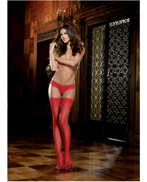 Stay Up Thigh Highs w/ Lace Top - One Size Queen, Red