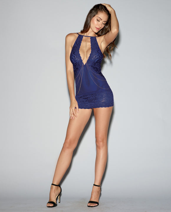 Stretch Lace & Mesh Chemise - Size 6-10, Midnight Blue - Pearl Pleazures