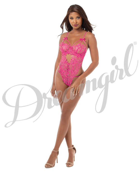 Venice Lace Teddy & G-String - Size 14-16, Fuchsia - Pearl Pleazures