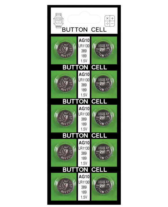 Button Cell Batteries AG10 - Card Of 10 - Pearl Pleazures