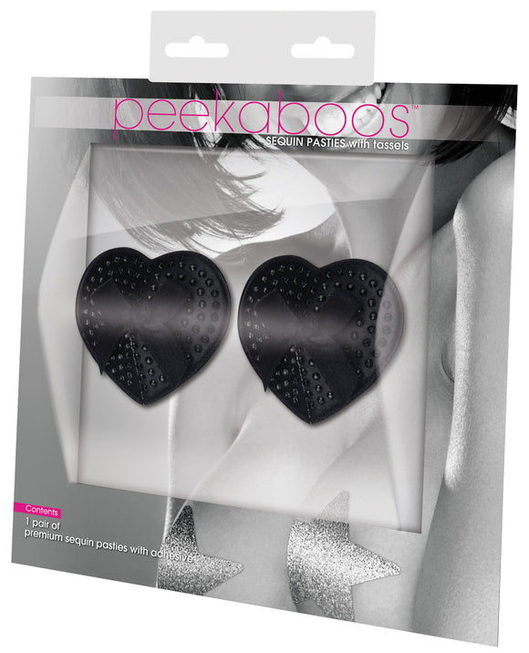 Peekaboos Satin with black Stone & Bow Premium Pasties - 1 Pr
