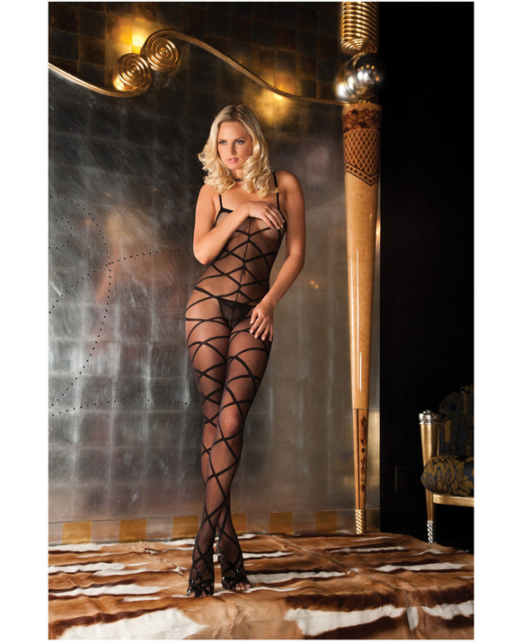 Strapped Up Sheer Bodystocking Black - Pearl Pleazures