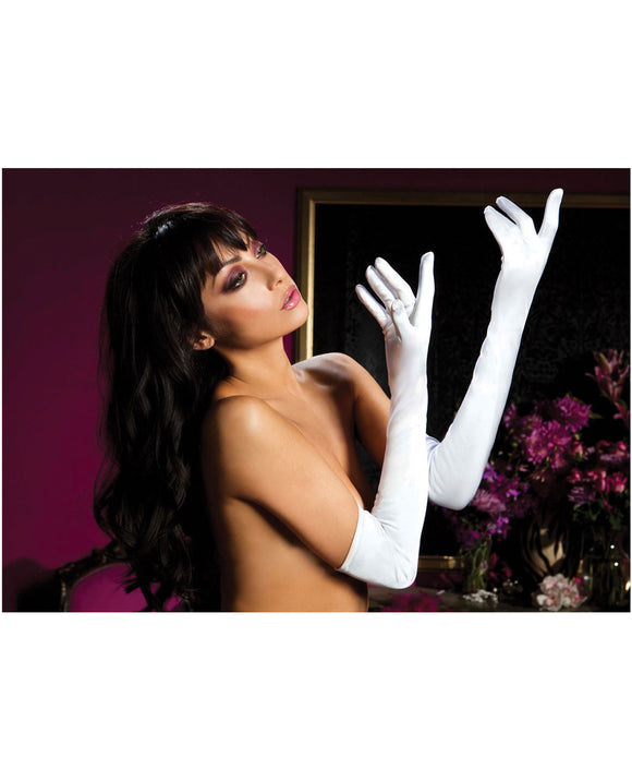 Satin Opera Length Gloves - White, One-Size - Pearl Pleazures