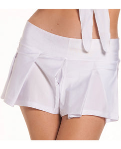 Solid Color Pleated School Girl Skirt - White, Md/Lg
