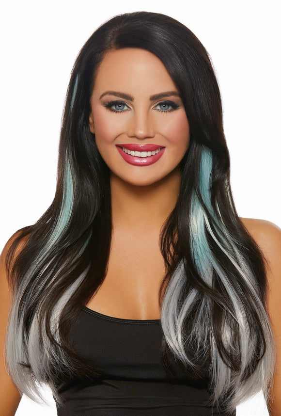 Long Straight Ombre Extensions - Aqua/Light Gray