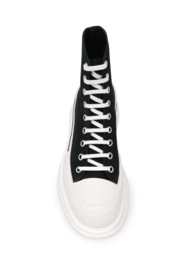 ALEXANDER MCQUEEN - Baskets tread slick black and white - Lothaire boutiques (6171066564773)